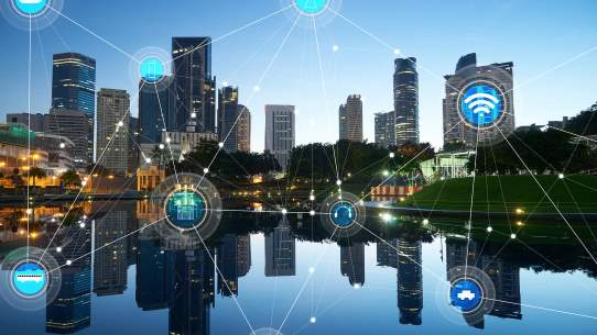 City landscape displaying connectivity