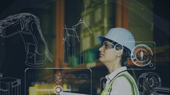 Woman in IIoT warehouse